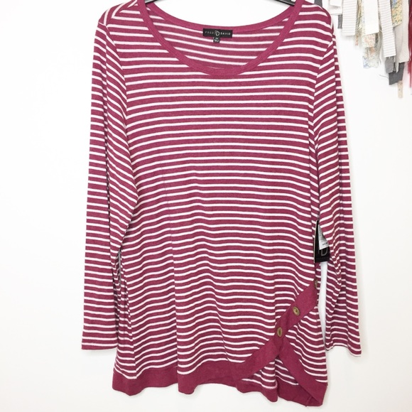 Fred David Tops - NEW striped knit tunic burgundy white 2X